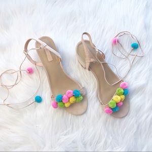 F21 nude Pom Pom lace up block heel sandals 7